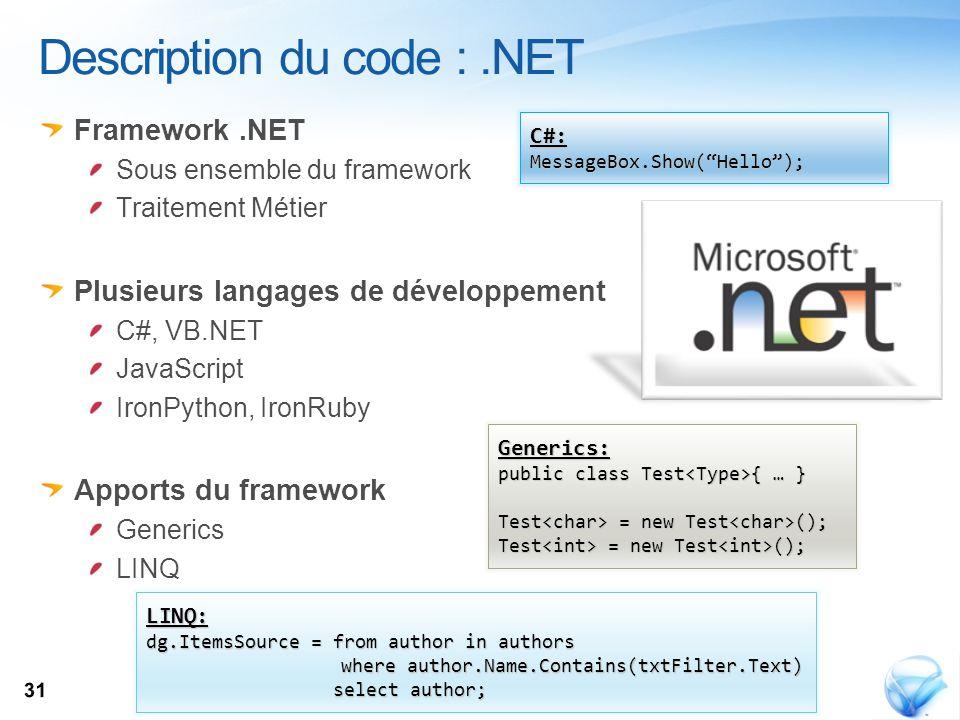 Framework.NET Sous ensemble du framework Traitement Métier Plusieurs langages de développement C#, VB.NET JavaScript IronPython, IronRuby Apports du f