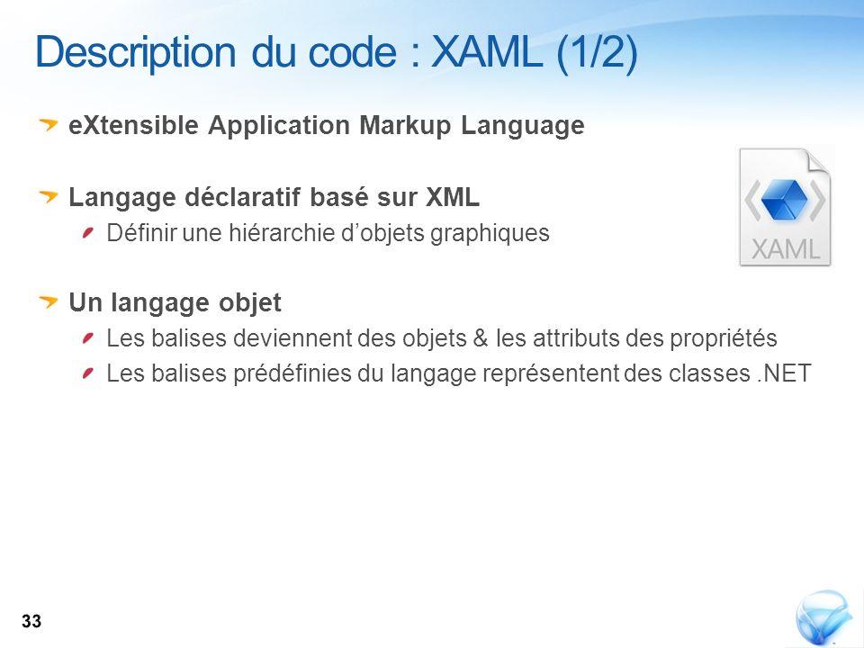 eXtensible Application Markup Language Langage déclaratif basé sur XML Définir une hiérarchie dobjets graphiques Un langage objet Les balises devienne