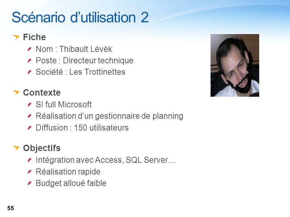 Scénario dutilisation 2 Fiche Nom : Thibault Lévèk Poste : Directeur technique Société : Les Trottinettes Contexte SI full Microsoft Réalisation dun g