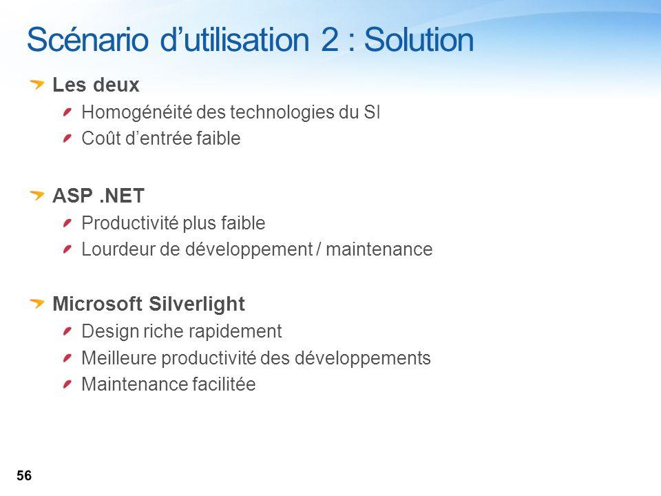 Scénario dutilisation 2 : Solution Les deux Homogénéité des technologies du SI Coût dentrée faible ASP.NET Productivité plus faible Lourdeur de dévelo