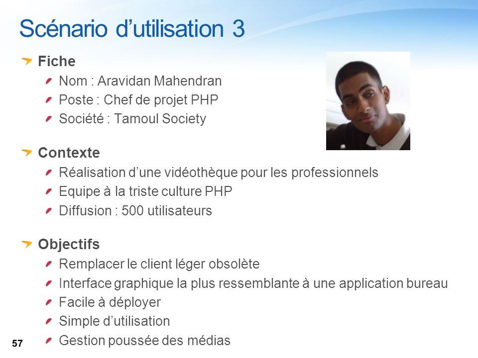 Scénario dutilisation 3 Fiche Nom : Aravidan Mahendran Poste : Chef de projet PHP Société : Tamoul Society Contexte Réalisation dune vidéothèque pour