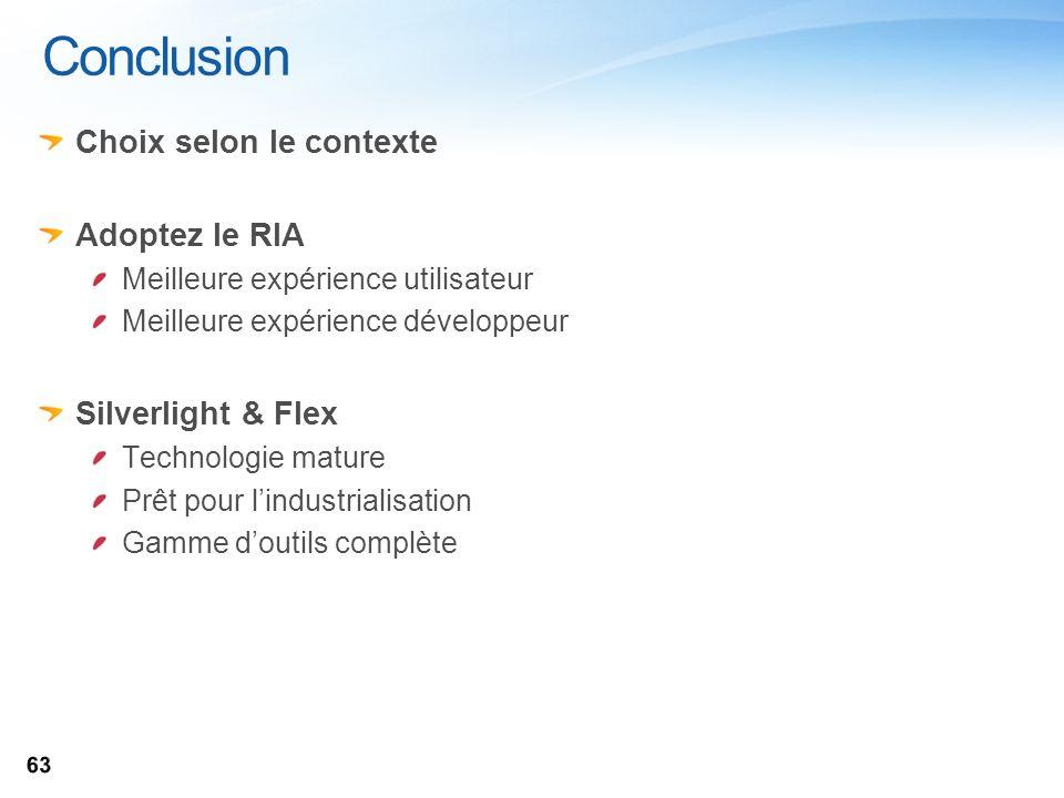 Conclusion Choix selon le contexte Adoptez le RIA Meilleure expérience utilisateur Meilleure expérience développeur Silverlight & Flex Technologie mat