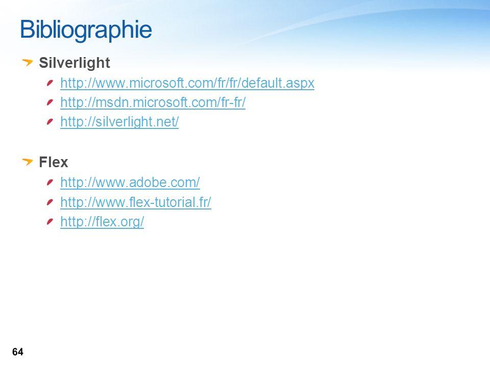 Bibliographie Silverlight http://www.microsoft.com/fr/fr/default.aspx http://msdn.microsoft.com/fr-fr/ http://silverlight.net/ Flex http://www.adobe.c