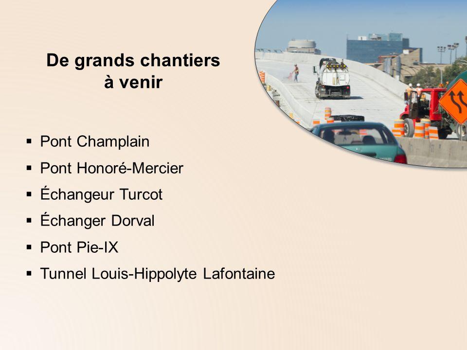 De grands chantiers à venir Pont Champlain Pont Honoré-Mercier Échangeur Turcot Échanger Dorval Pont Pie-IX Tunnel Louis-Hippolyte Lafontaine