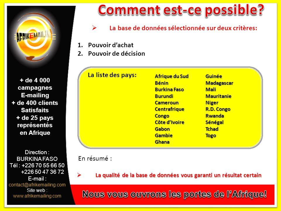 Direction : BURKINA FASO Tél : +226 70 55 66 50 +226 50 47 36 72 E-mail : contact@afrikemailing.com Site web : www.afrikemailing.com La base de données sélectionnée sur deux critères: 1.Pouvoir dachat 2.Pouvoir de décision En résumé : La qualité de la base de données vous garanti un résultat certain La qualité de la base de données vous garanti un résultat certain La liste des pays: Afrique du Sud Bénin Burkina Faso BurundiCamerounCentrafriqueCongo Côte dIvoire GabonGambieGhanaGuinéeMadagascarMaliMauritanieNiger R.D.