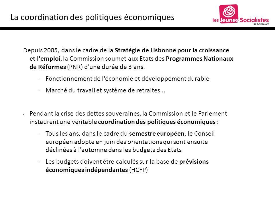 La coordination des politiques économiques Depuis 2005, dans le cadre de la Stratégie de Lisbonne pour la croissance et l emploi, la Commission soumet aux Etats des Programmes Nationaux de Réformes (PNR) d une durée de 3 ans.