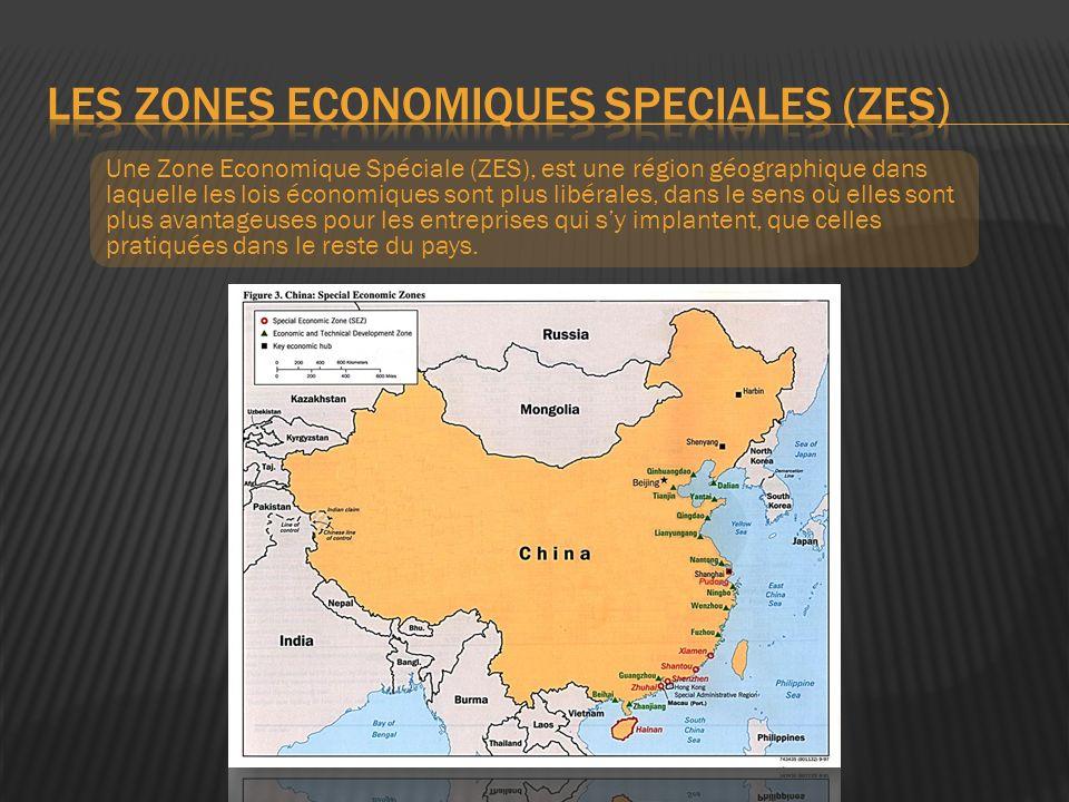 Attirer les investissement étrangers par : - Zone franche sans taxes ni droits de douane - Exonération dimpôts sur le revenu pendant la phase dinstallation de lentreprise - Aides directes à linstallation 480 entreprises étrangères parmi les 500 les plus fortes dans le monde investissent en Chine