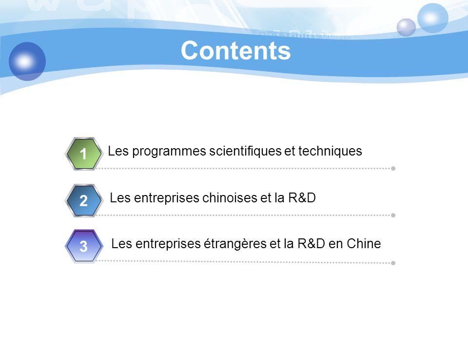 Contents Les programmes scientifiques et techniques 1 Les entreprises chinoises et la R&D 2 Les entreprises étrangères et la R&D en Chine 3 4