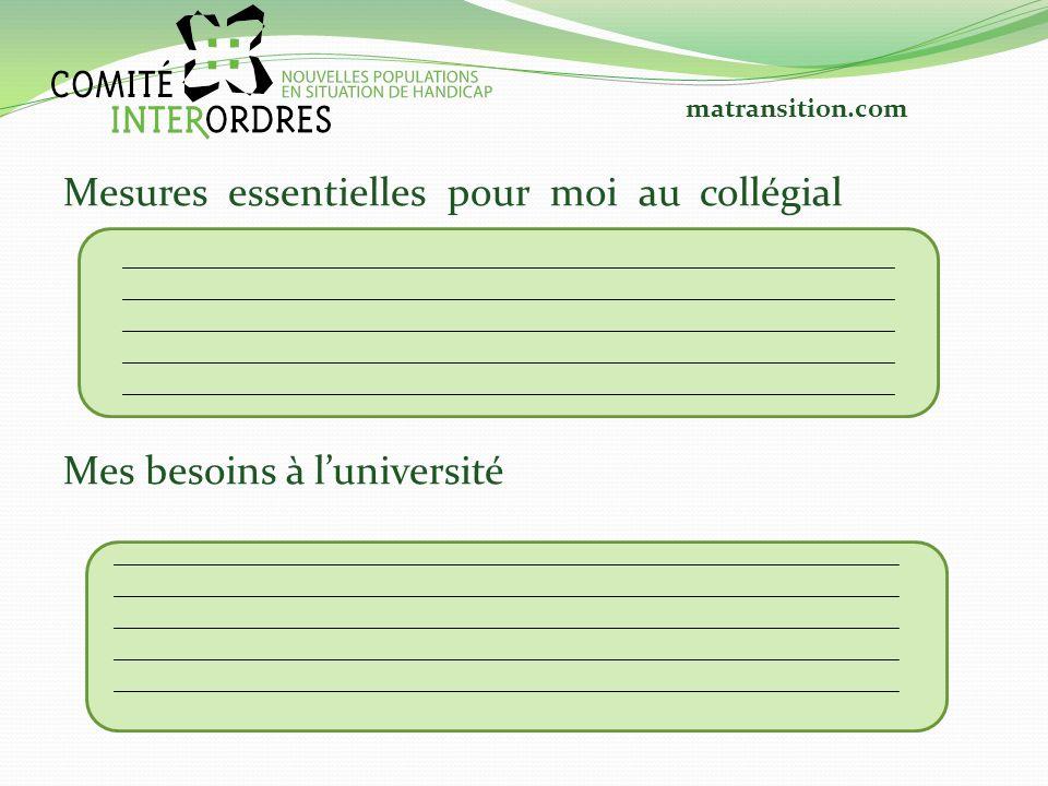 Mesures essentielles pour moi au collégial Mes besoins à luniversité ___________________________________________________________ _____________________