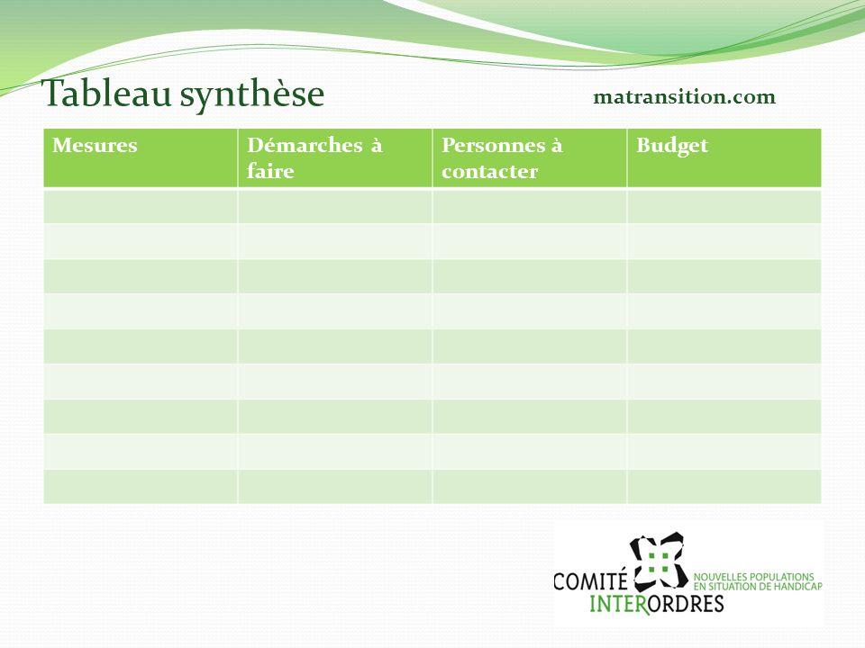 Tableau synthèse MesuresDémarches à faire Personnes à contacter Budget matransition.com