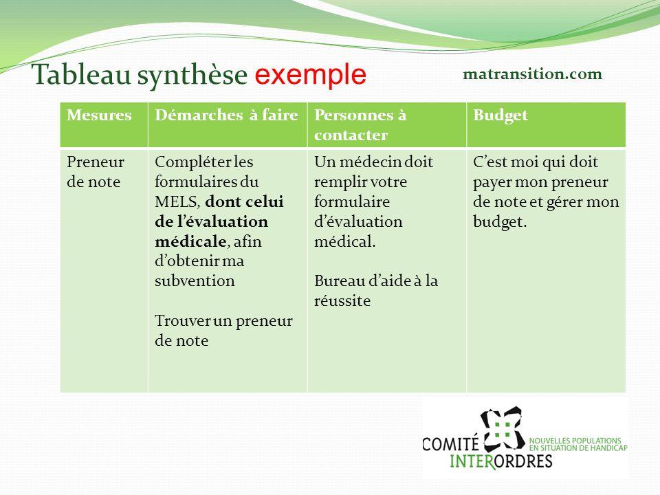 Tableau synthèse exemple MesuresDémarches à fairePersonnes à contacter Budget Preneur de note Compléter les formulaires du MELS, dont celui de lévalua