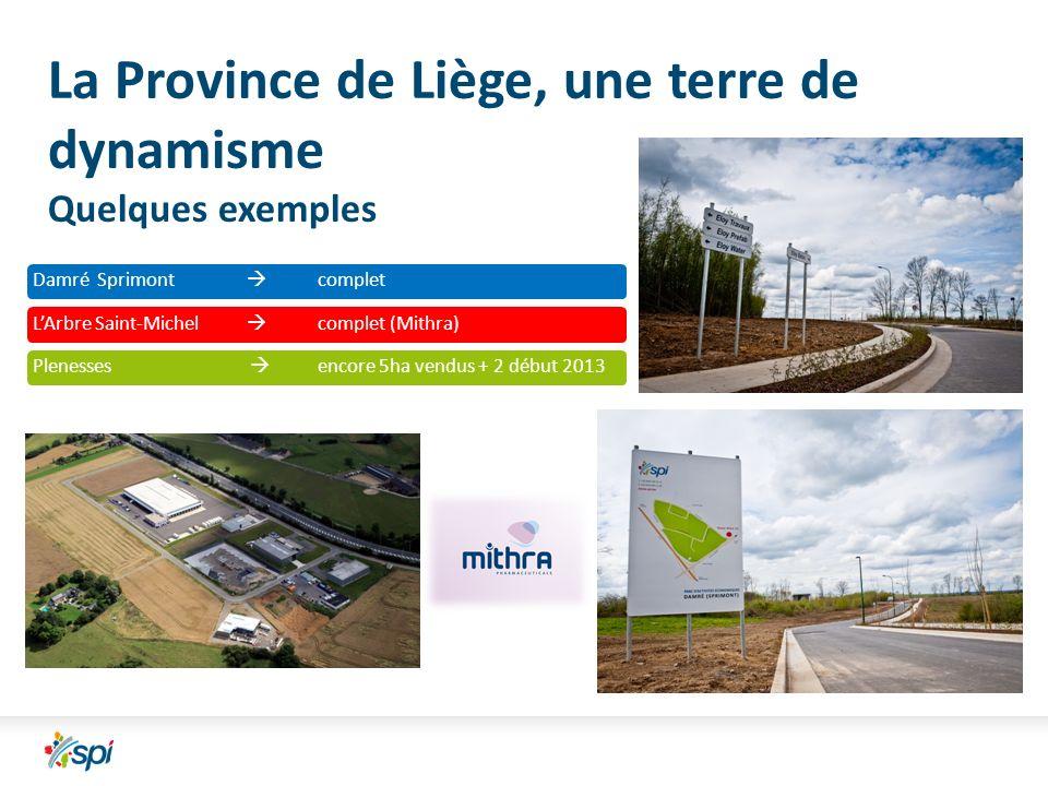 La Province de Liège, une terre de dynamisme Quelques exemples Damré Sprimont completLArbre Saint-Michel complet (Mithra)Plenesses encore 5ha vendus + 2 début 2013