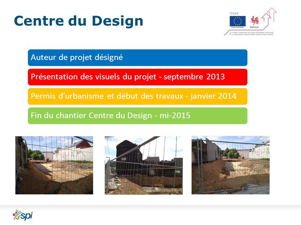 Centre du Design Auteur de projet désignéPrésentation des visuels du projet - septembre 2013Permis durbanisme et début des travaux - janvier 2014Fin du chantier Centre du Design - mi-2015