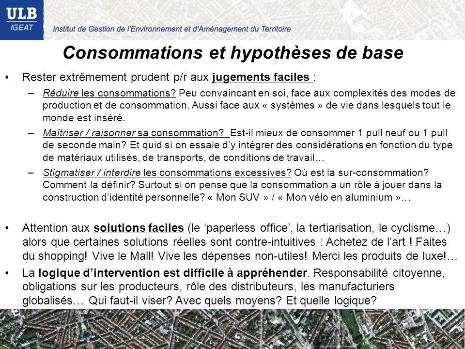 Consommations et hypothèses de base Rester extrêmement prudent p/r aux jugements faciles : –Réduire les consommations? Peu convaincant en soi, face au