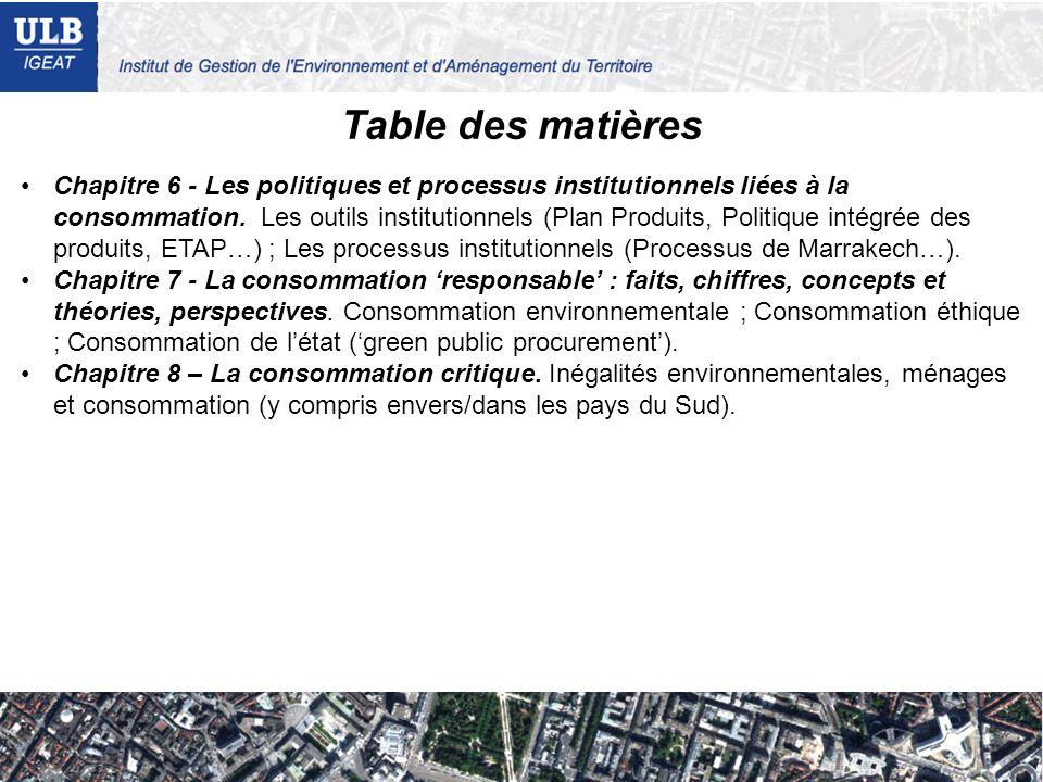 Table des matières Chapitre 6 - Les politiques et processus institutionnels liées à la consommation. Les outils institutionnels (Plan Produits, Politi