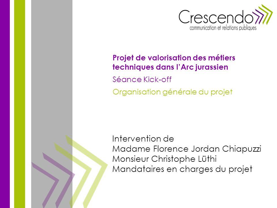 Intervention de Madame Florence Jordan Chiapuzzi Monsieur Christophe Lüthi Mandataires en charges du projet Projet de valorisation des métiers techniq