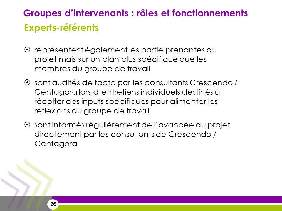 26 Groupes dintervenants : rôles et fonctionnements Experts-référents représentent également les partie prenantes du projet mais sur un plan plus spéc