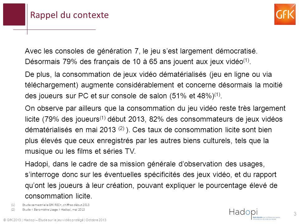 © GfK 2013 | Hadopi – Etude sur le jeu vidéo protégé | Octobre 2013 Rappel du contexte Avec les consoles de génération 7, le jeu sest largement démocratisé.