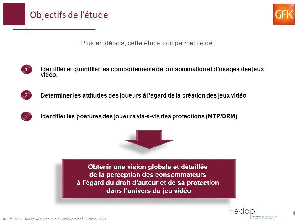 © GfK 2013 | Hadopi – Etude sur le jeu vidéo protégé | Octobre 2013 Objectifs de létude Plus en détails, cette étude doit permettre de : Identifier et