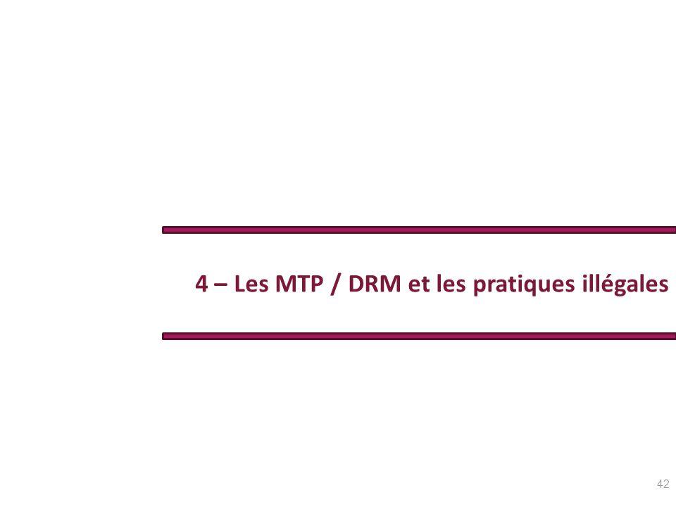 4 – Les MTP / DRM et les pratiques illégales 42