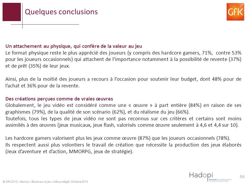 © GfK 2013 | Hadopi – Etude sur le jeu vidéo protégé | Octobre 2013 64 Un attachement au physique, qui confère de la valeur au jeu Le format physique