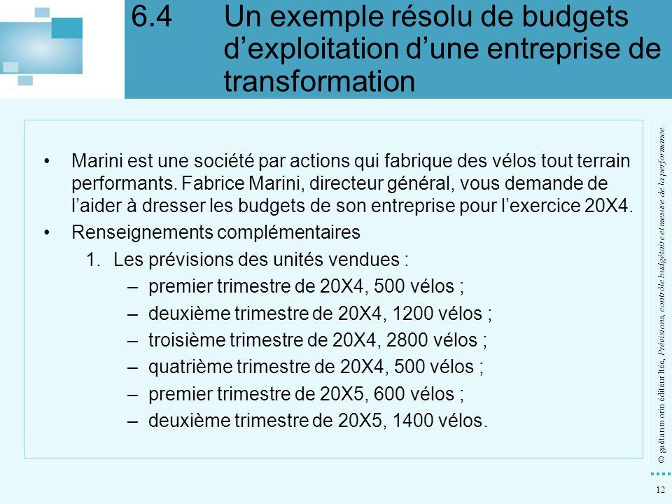 12 © gaëtan morin éditeur ltée, Prévisions, contrôle budgétaire et mesure de la performance. Marini est une société par actions qui fabrique des vélos