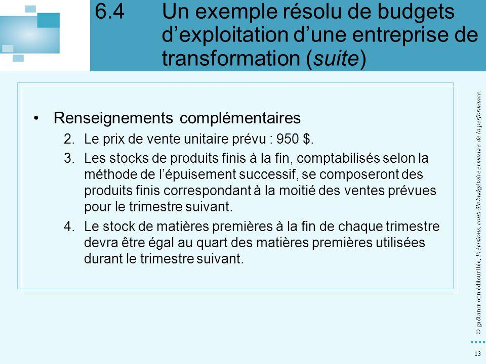 13 © gaëtan morin éditeur ltée, Prévisions, contrôle budgétaire et mesure de la performance. Renseignements complémentaires 2.Le prix de vente unitair