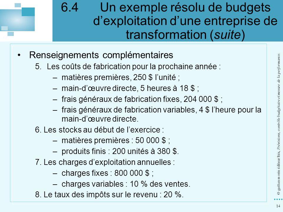 14 © gaëtan morin éditeur ltée, Prévisions, contrôle budgétaire et mesure de la performance. Renseignements complémentaires 5.Les coûts de fabrication