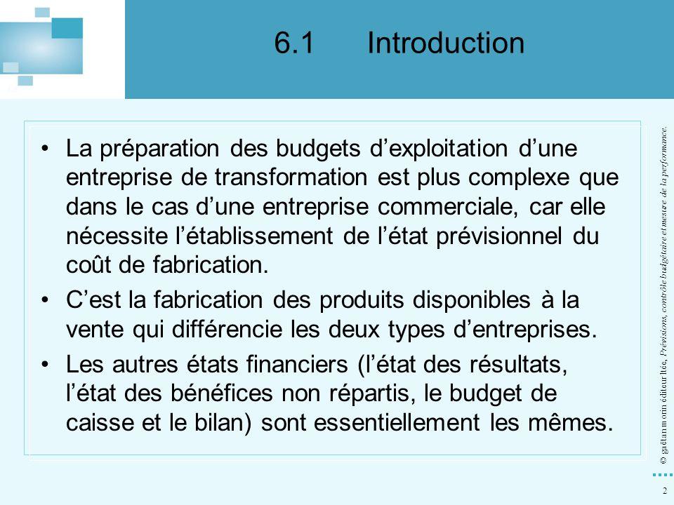 2 © gaëtan morin éditeur ltée, Prévisions, contrôle budgétaire et mesure de la performance. La préparation des budgets dexploitation dune entreprise d
