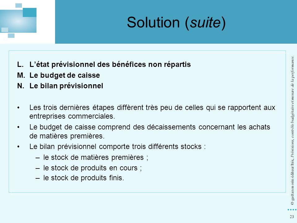 23 © gaëtan morin éditeur ltée, Prévisions, contrôle budgétaire et mesure de la performance. L.Létat prévisionnel des bénéfices non répartis M.Le budg