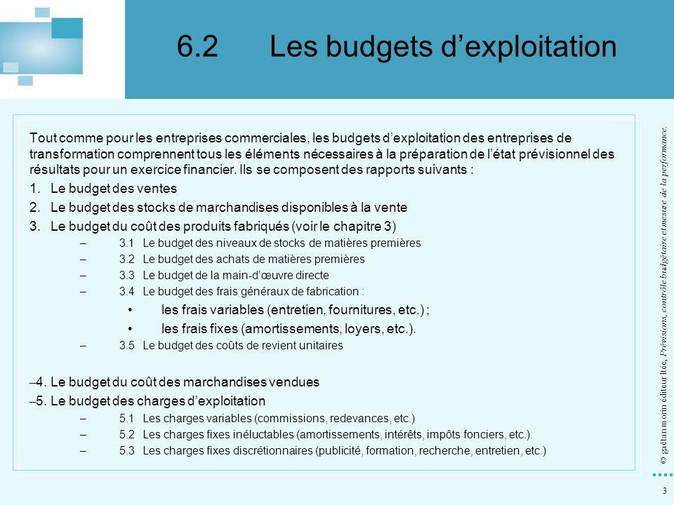 3 © gaëtan morin éditeur ltée, Prévisions, contrôle budgétaire et mesure de la performance. Tout comme pour les entreprises commerciales, les budgets