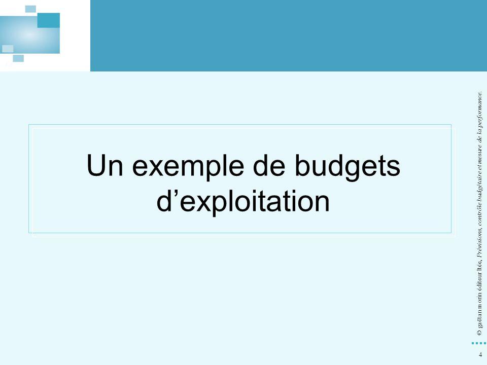 4 © gaëtan morin éditeur ltée, Prévisions, contrôle budgétaire et mesure de la performance. Un exemple de budgets dexploitation