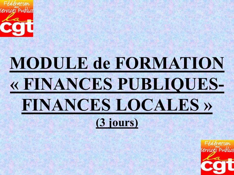 MODULE de FORMATION « FINANCES PUBLIQUES- FINANCES LOCALES » (3 jours)