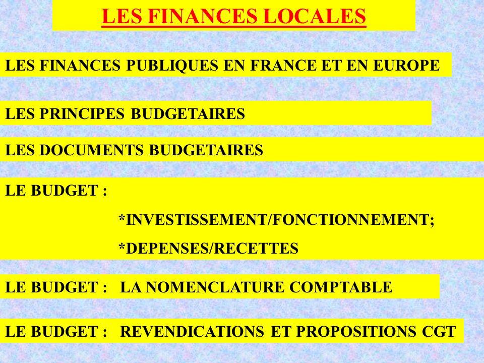 LES FINANCES LOCALES LES FINANCES PUBLIQUES EN FRANCE ET EN EUROPE LES PRINCIPES BUDGETAIRES LES DOCUMENTS BUDGETAIRES LE BUDGET : *INVESTISSEMENT/FON