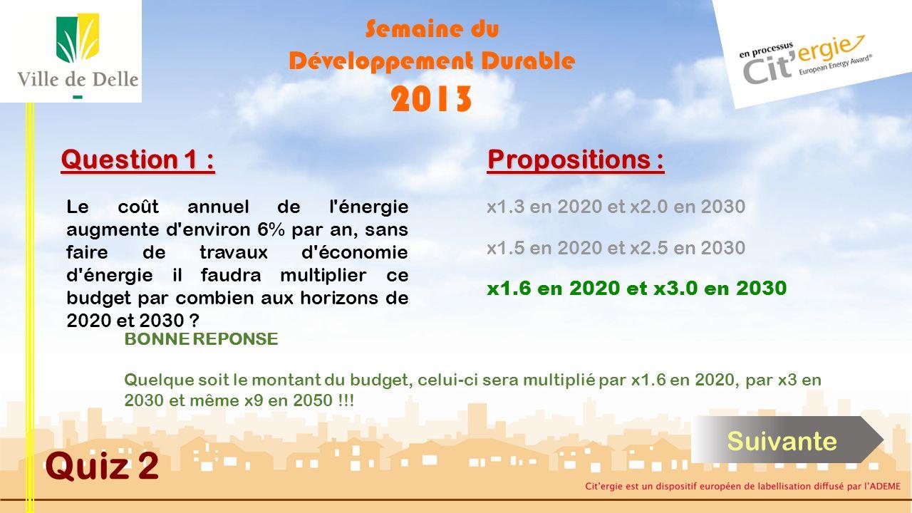 Semaine du Développement Durable 2013 Quiz 2 Question 1 : Le coût annuel de l énergie augmente d environ 6% par an, sans faire de travaux d économie d énergie il faudra multiplier ce budget par combien aux horizons de 2020 et 2030 .