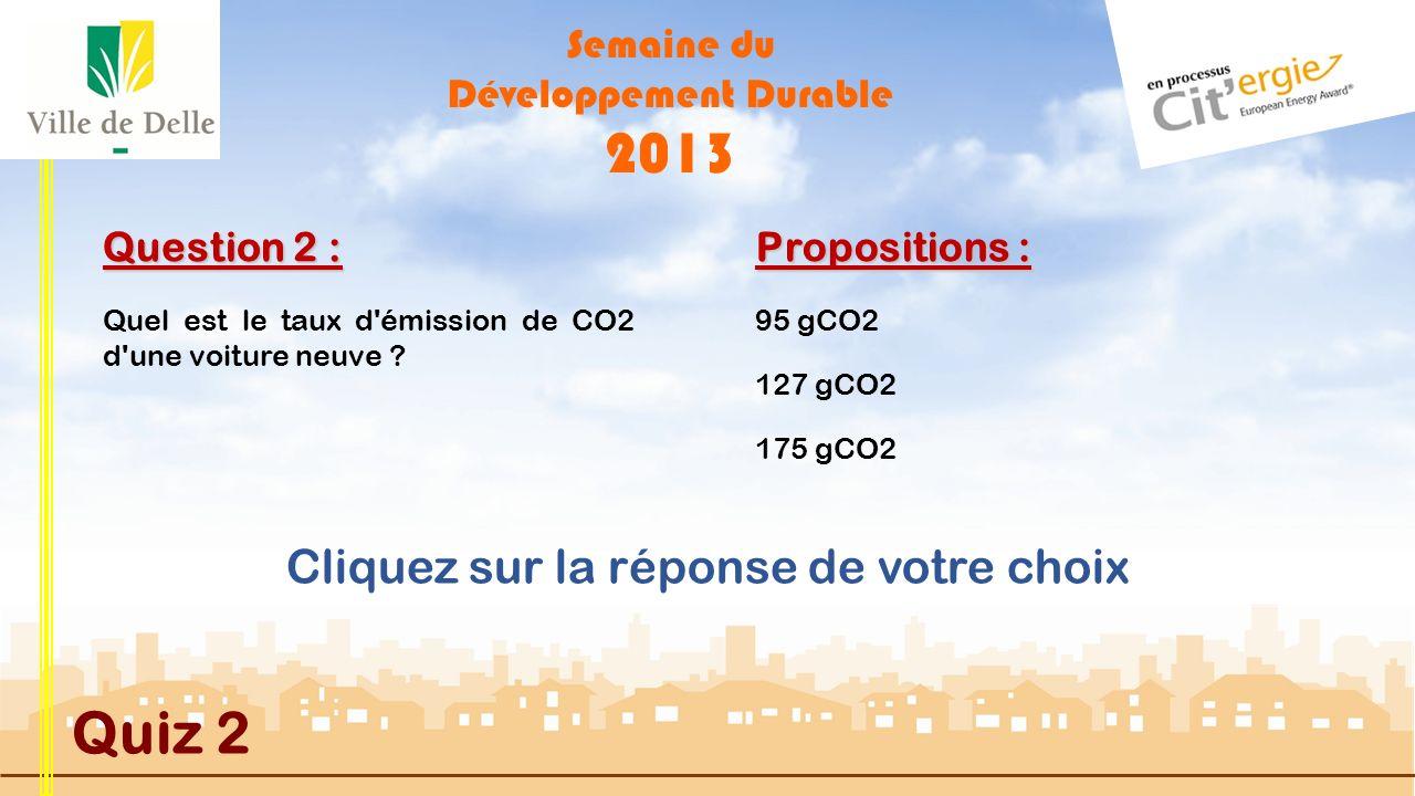 Semaine du Développement Durable 2013 Quiz 2 Question 2 : Quel est le taux d émission de CO2 d une voiture neuve .