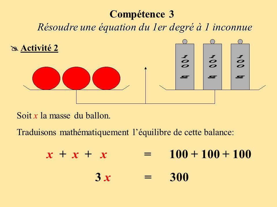 Soit x la masse du ballon. Traduisons mathématiquement léquilibre de cette balance: x + x + x = 100 + 100 + 100 3 x = 300 Compétence 3 Résoudre une éq