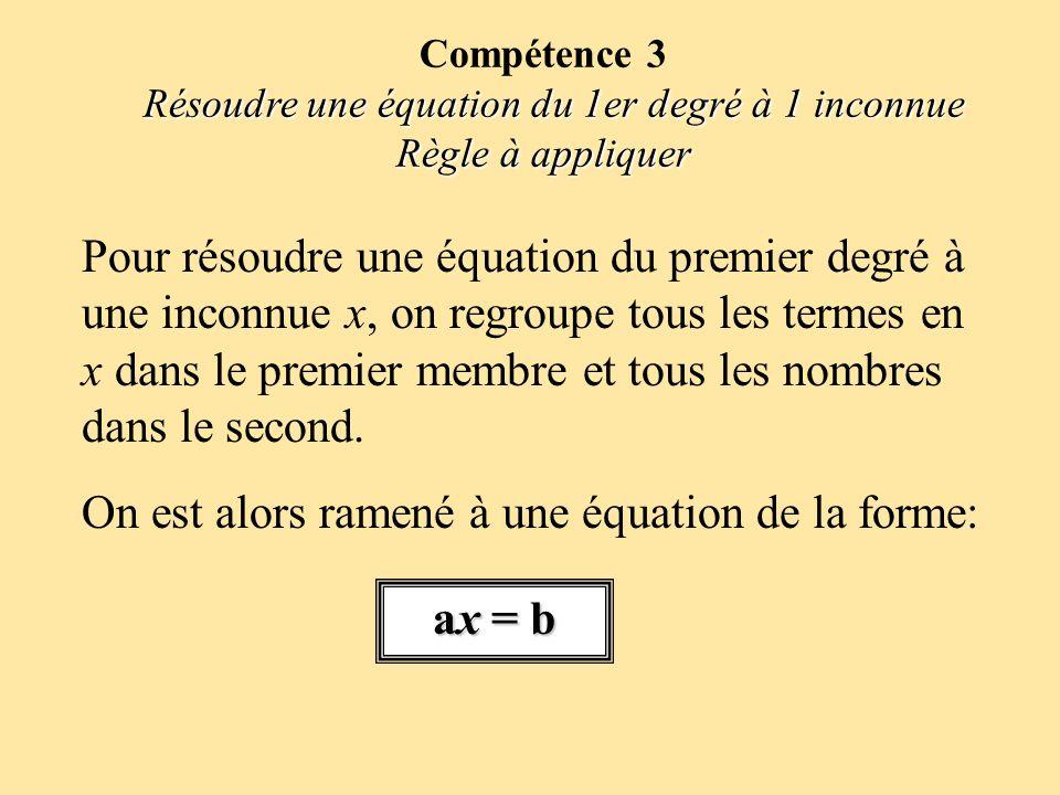 Pour résoudre une équation du premier degré à une inconnue x, on regroupe tous les termes en x dans le premier membre et tous les nombres dans le seco