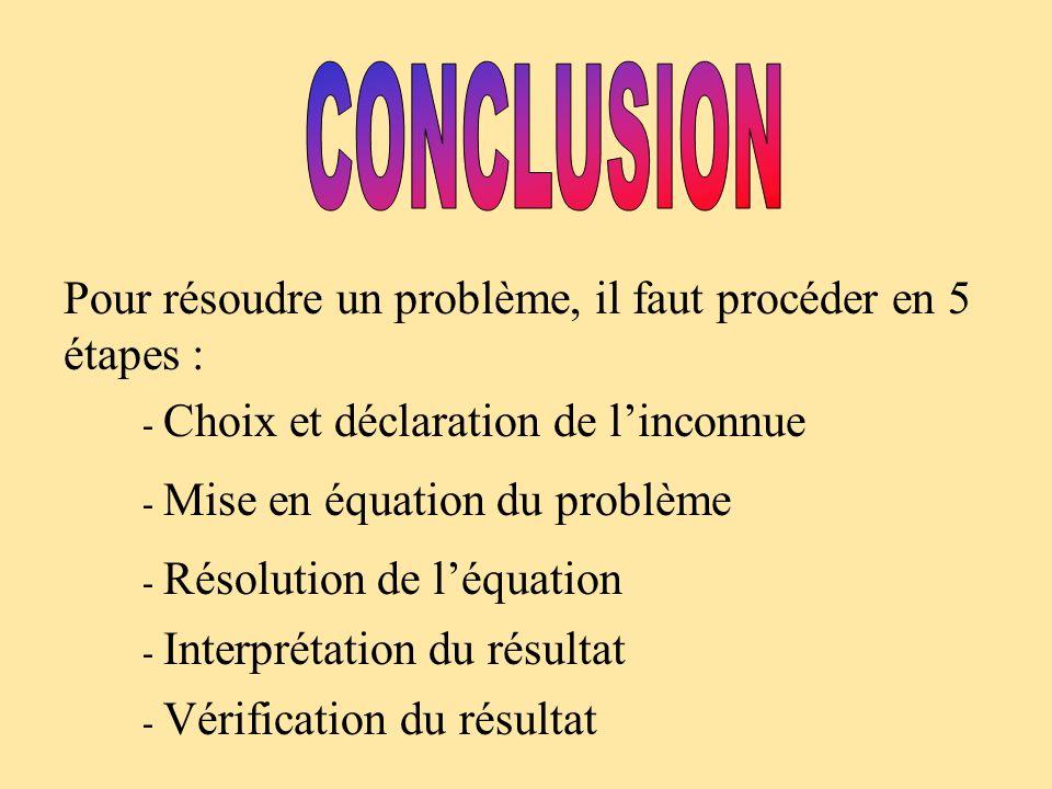 Pour résoudre un problème, il faut procéder en 5 étapes : - Choix et déclaration de linconnue - Mise en équation du problème - Résolution de léquation