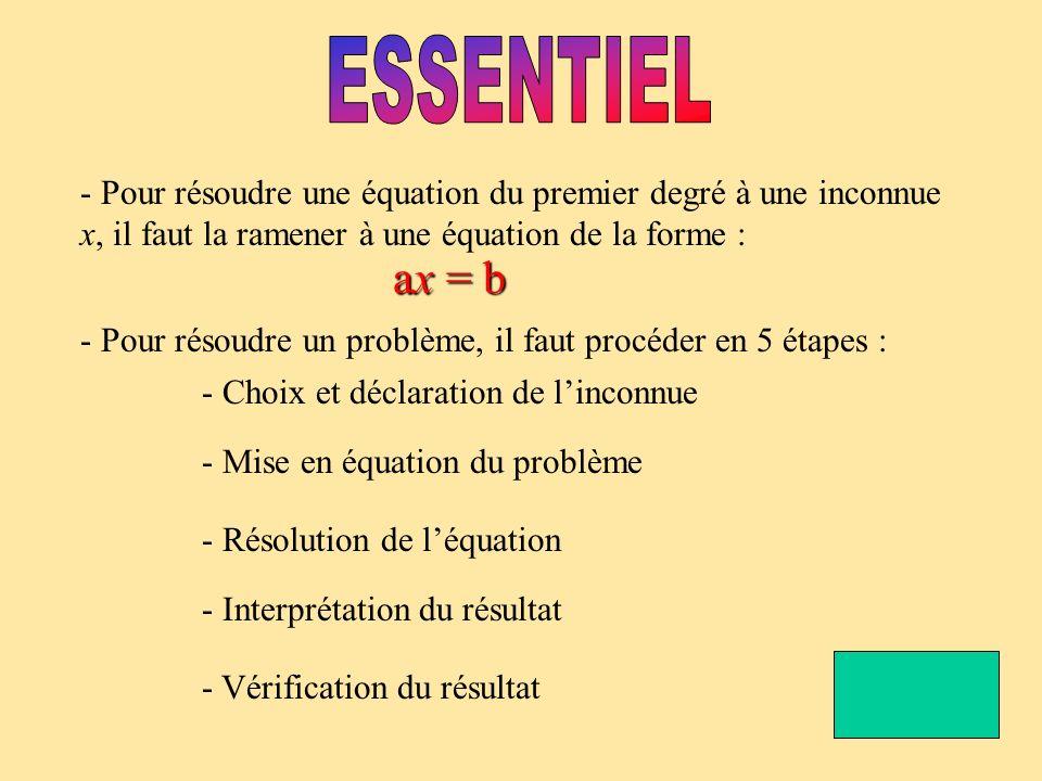 - Pour résoudre une équation du premier degré à une inconnue x, il faut la ramener à une équation de la forme : ax = b - Pour résoudre un problème, il