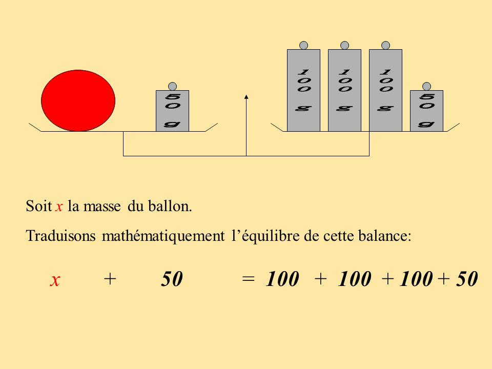 Soit x la masse du ballon. Traduisons mathématiquement léquilibre de cette balance: x + 50 = 100 + + + 50
