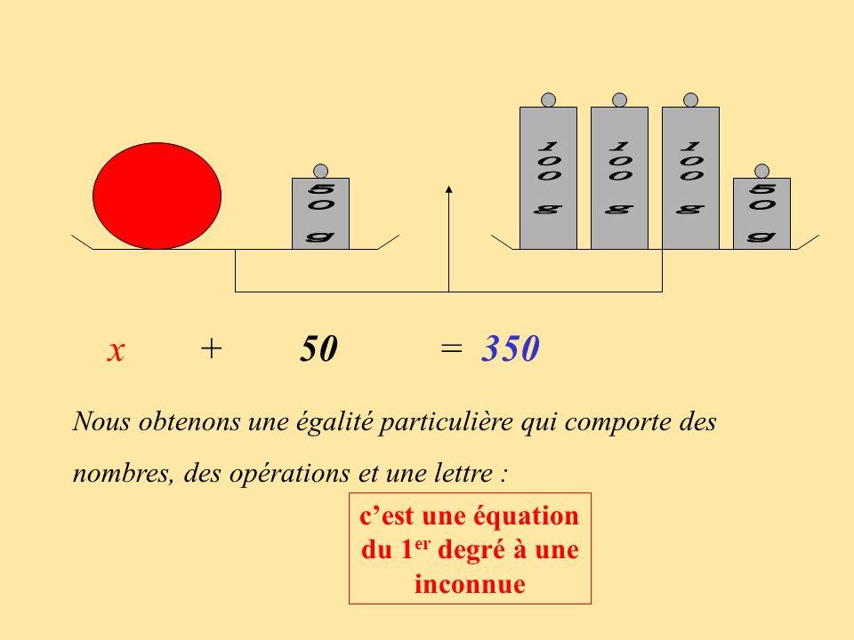 Nous obtenons une égalité particulière qui comporte des nombres, des opérations et une lettre : cest une équation du 1 er degré à une inconnue x + 50