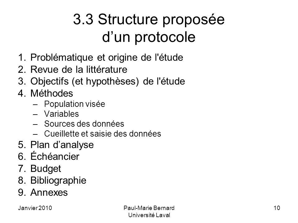 Janvier 2010Paul-Marie Bernard Université Laval 10 3.3 Structure proposée dun protocole 1.Problématique et origine de l'étude 2.Revue de la littératur