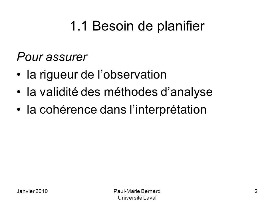 Janvier 2010Paul-Marie Bernard Université Laval 2 1.1 Besoin de planifier Pour assurer la rigueur de lobservation la validité des méthodes danalyse la