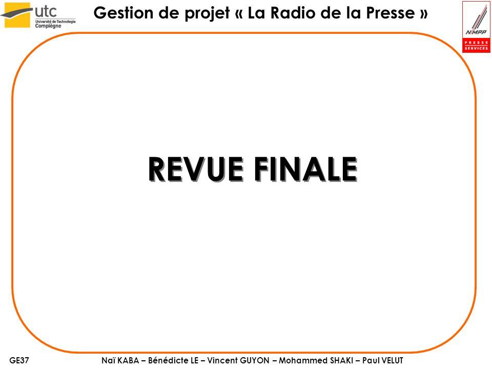 Naï KABA – Bénédicte LE – Vincent GUYON – Mohammed SHAKI – Paul VELUT Gestion de projet « La Radio de la Presse » GE37 REVUE FINALE