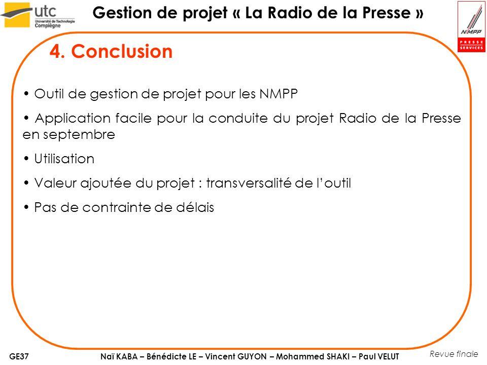 Naï KABA – Bénédicte LE – Vincent GUYON – Mohammed SHAKI – Paul VELUT Gestion de projet « La Radio de la Presse » GE37 Revue finale 4.