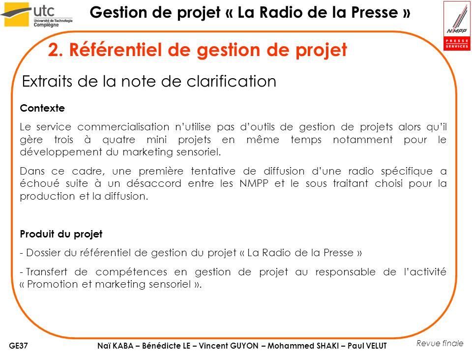 Naï KABA – Bénédicte LE – Vincent GUYON – Mohammed SHAKI – Paul VELUT Gestion de projet « La Radio de la Presse » GE37 4.