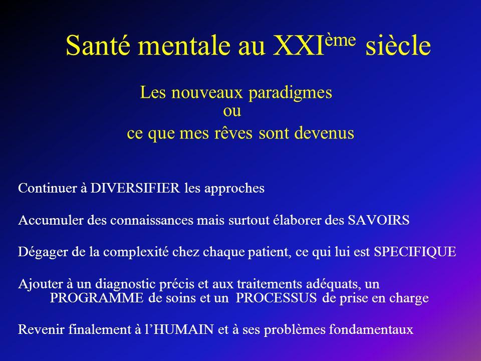 Santé mentale au XXI ème siècle Les nouveaux paradigmes ou ce que mes rêves sont devenus Continuer à DIVERSIFIER les approches Accumuler des connaissa