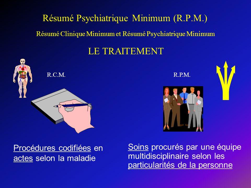 Résumé Psychiatrique Minimum (R.P.M.) Soins procurés par une équipe multidisciplinaire selon les particularités de la personne Résumé Clinique Minimum