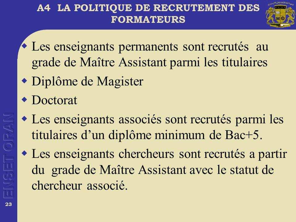 23 A4 LA POLITIQUE DE RECRUTEMENT DES FORMATEURS Les enseignants permanents sont recrutés au grade de Maître Assistant parmi les titulaires Diplôme de Magister Doctorat Les enseignants associés sont recrutés parmi les titulaires dun diplôme minimum de Bac+5.